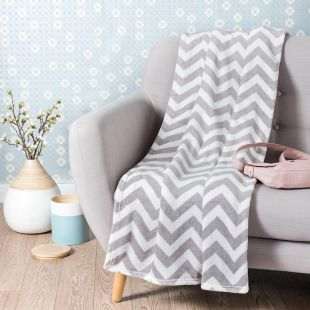 CHALEUR fabric patterned blanket in grey 130 x 170cm
