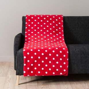 CHALEUR soft throw with red polka dot motif 150 x 230 cm