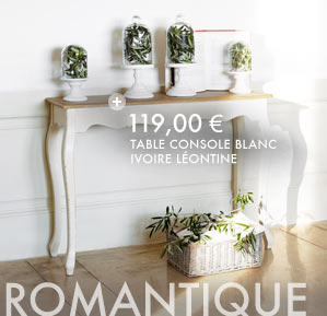 table console blanc ivoire