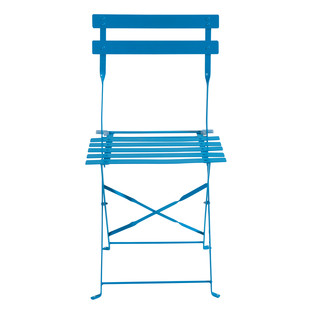 2 metal folding garden chairs in blue - Guinguette Guinguette