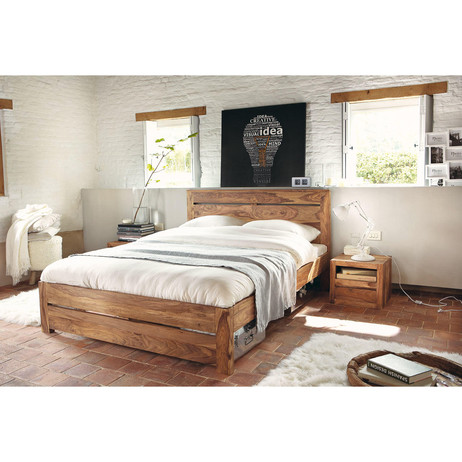 lit 160 x 200 cm en bois de sheesham massif stockholm maisons du monde. Black Bedroom Furniture Sets. Home Design Ideas
