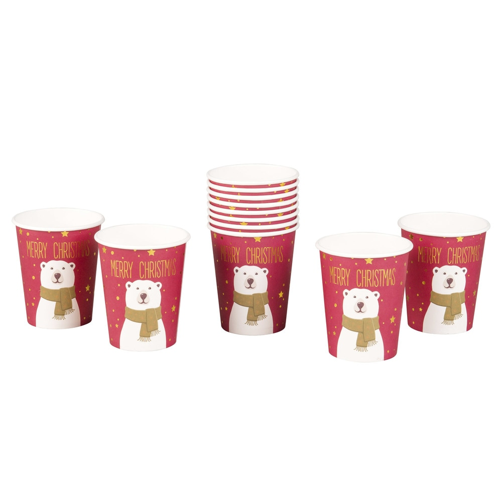 12 Printed Red Paper Cups