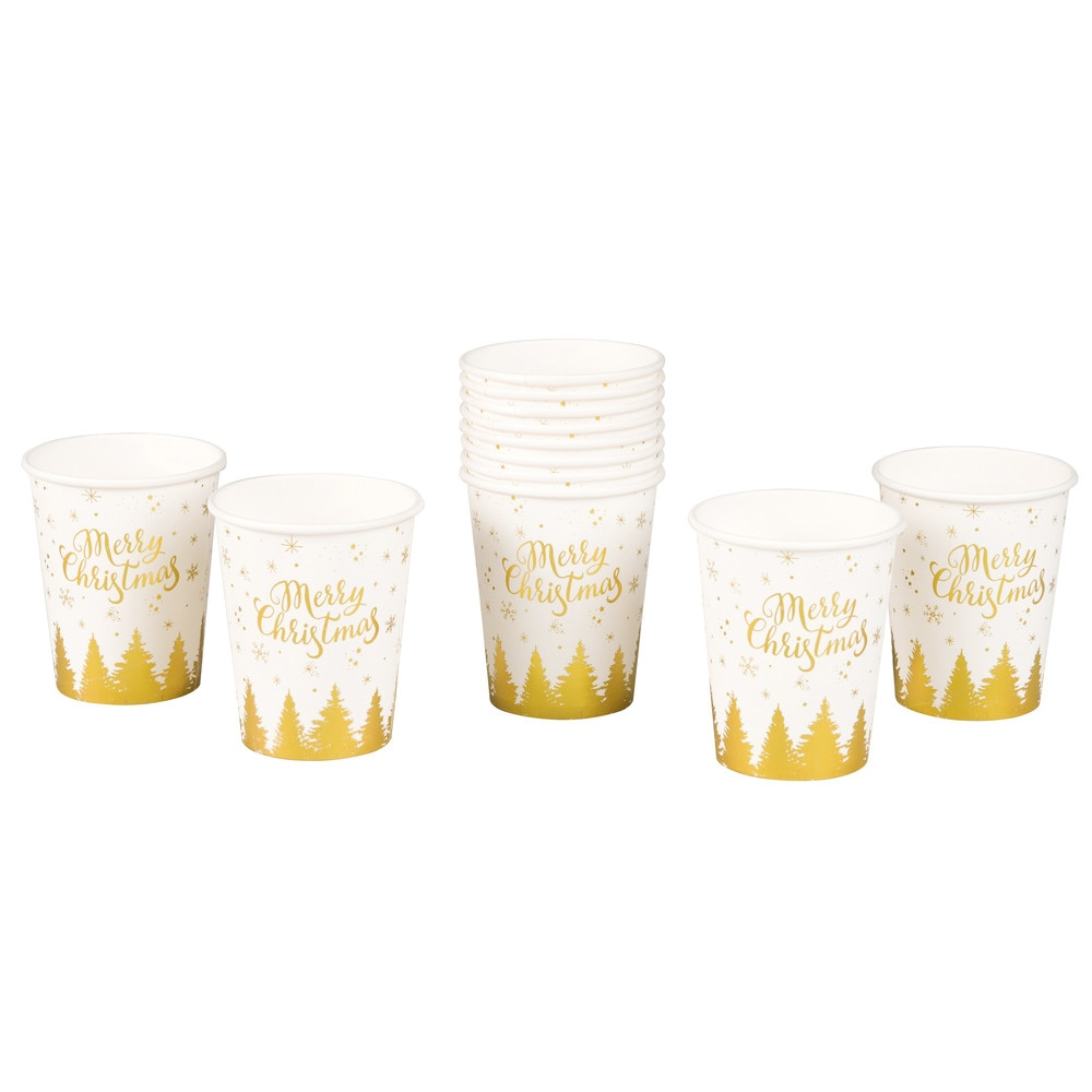 12 White Paper Cups with Gold Print