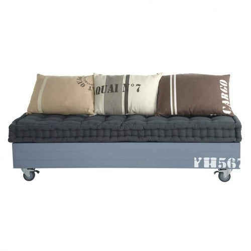 2 3 seater cotton sofa bench cargo maisons du monde for Coussin sofa exterieur