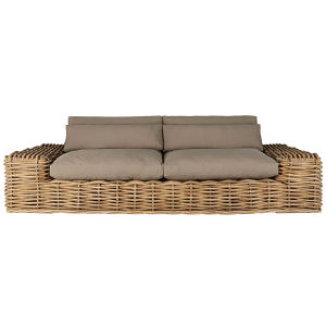 2/3-seater garden sofa in rattan with taupe cushions
