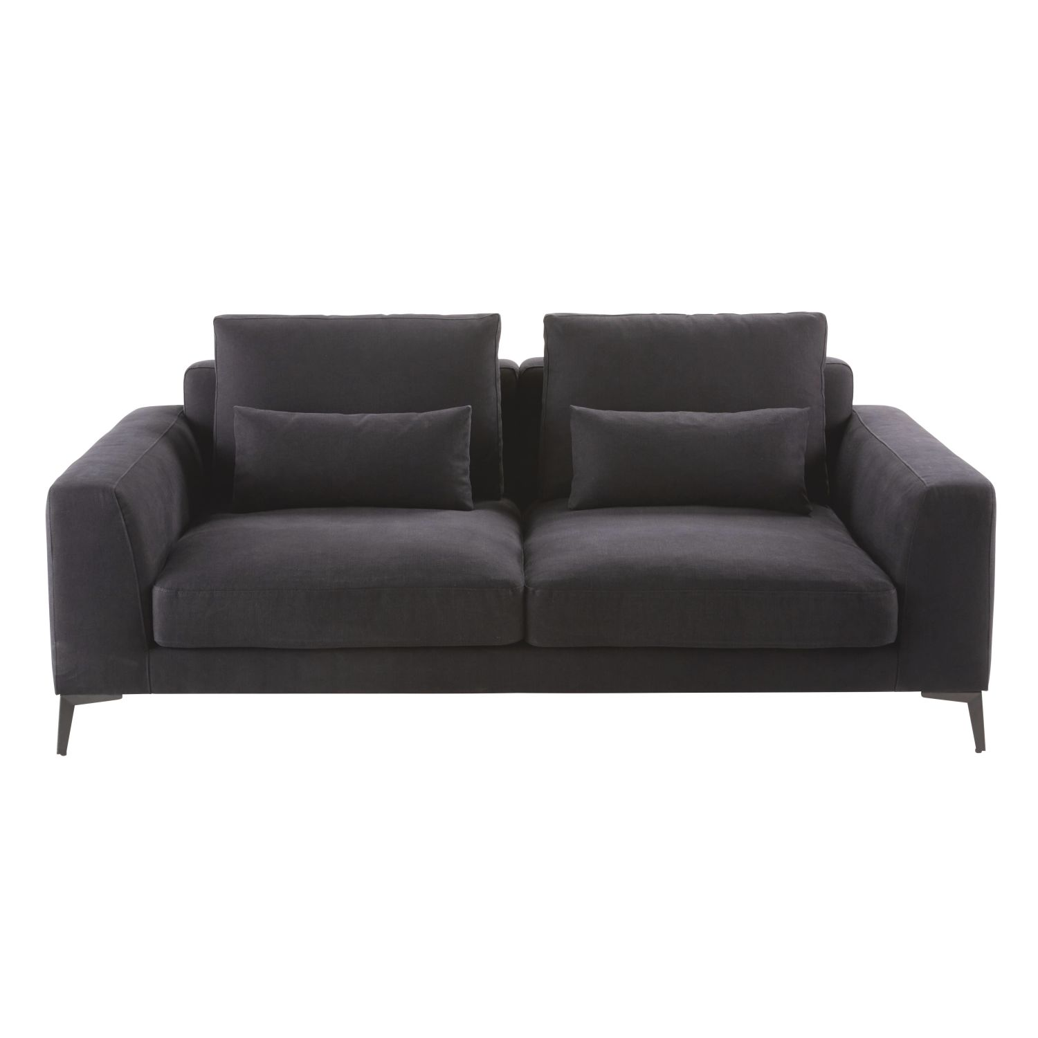 2 3 sitzer sofa bezug aus baumwolle und leinen schiefergrau maisons du monde. Black Bedroom Furniture Sets. Home Design Ideas