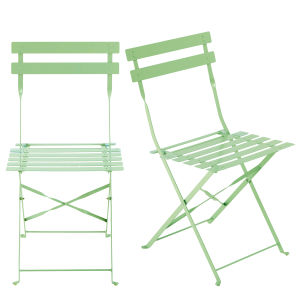 2 Aqua Metal Folding Garden Chairs
