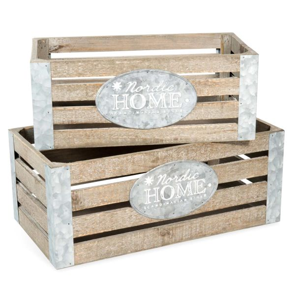 2 caisses en bois L 32 et L 39 cm HOME (photo)