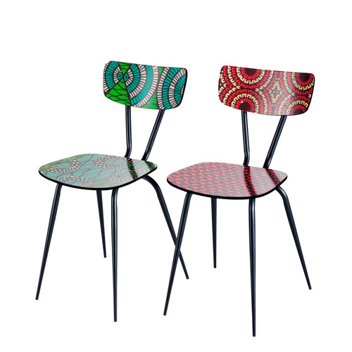 2 chaises imprim s multicolores bamako maisons du monde. Black Bedroom Furniture Sets. Home Design Ideas