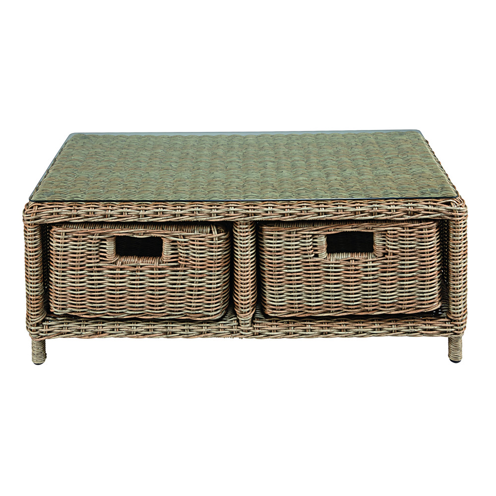 2drawer garden coffee table in tempered glass and resin wicker