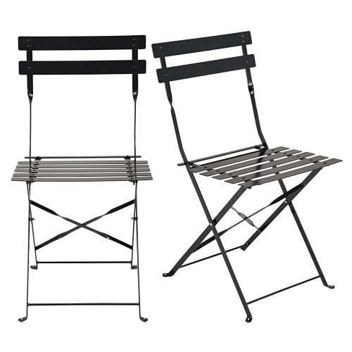 2 folding chairs in satiny black metal