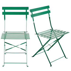 2 Green Metal Folding Garden Chairs