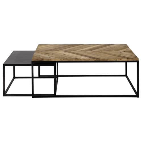 2 metal and recycled wood nested coffee tables w 60cm and - Maison du monde set de table ...