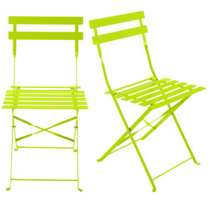 2 metal folding garden chairs in lime green
