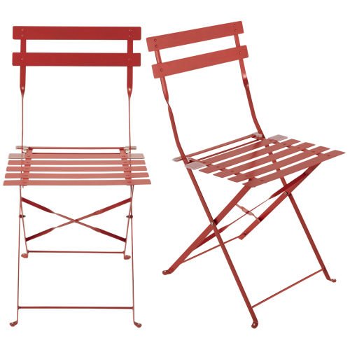 2 Metal Folding Garden Chairs in Red