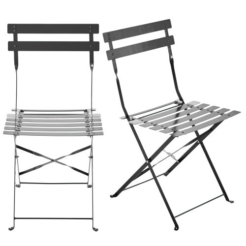 2 metal folding garden chairs in taupe