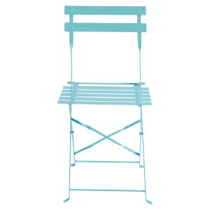 2 metal folding garden chairs in turquoise