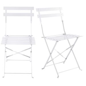 2 metal folding garden chairs in white