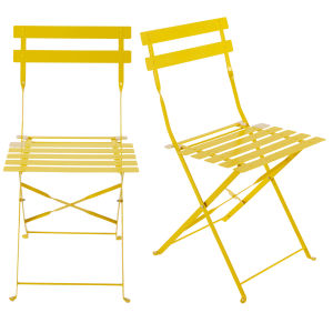 2 metal folding garden chairs in yellow