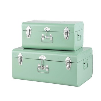 2 metal trunks in light blue w 44cm and w 56cm