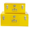 2 metal trunks in yellow W 44cm and W 56cm