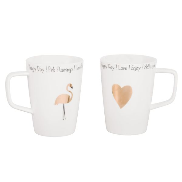 2 mugs en porcelaine blanche imprimée doré (photo)