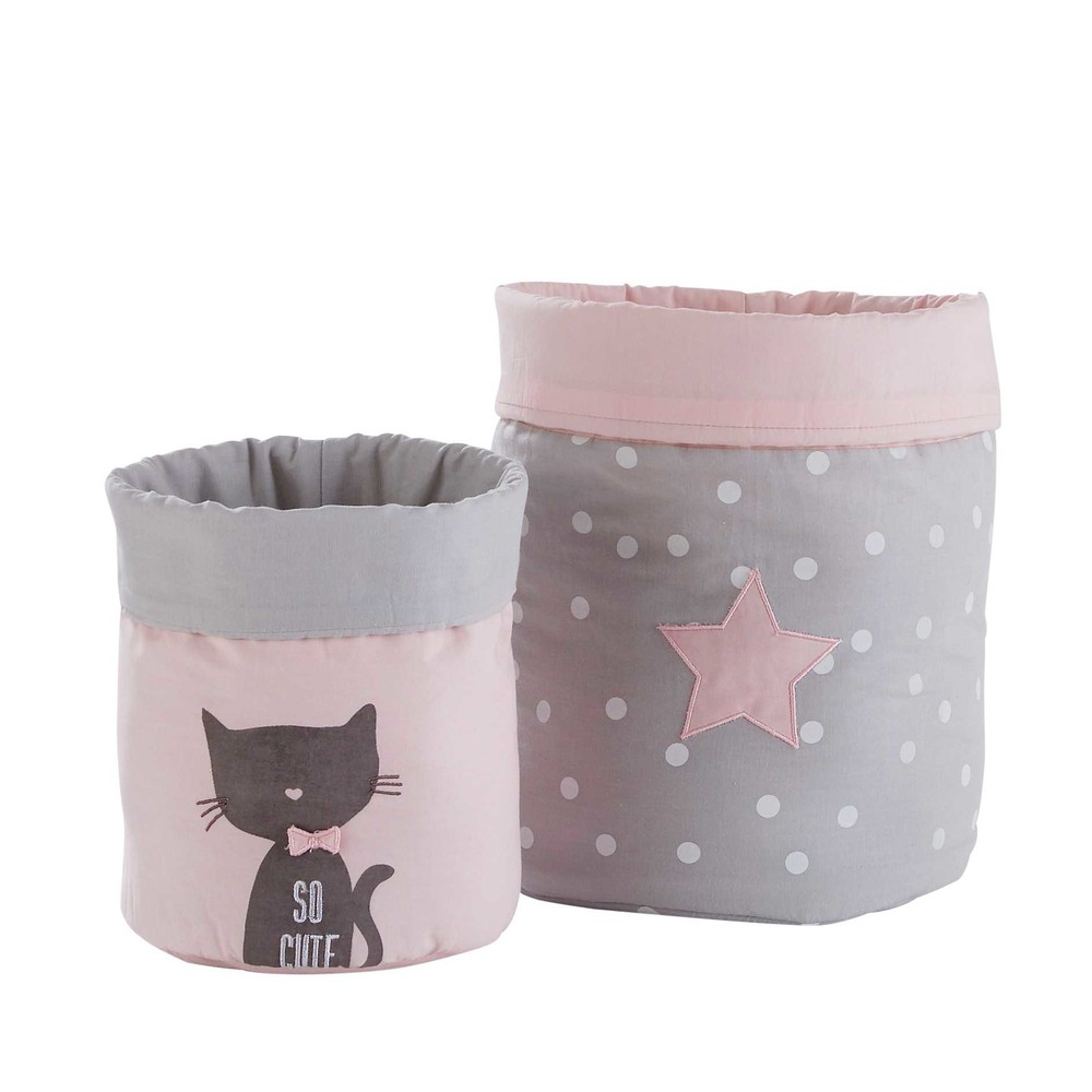 2 paniers de rangement en coton gris et rose CATS (photo)