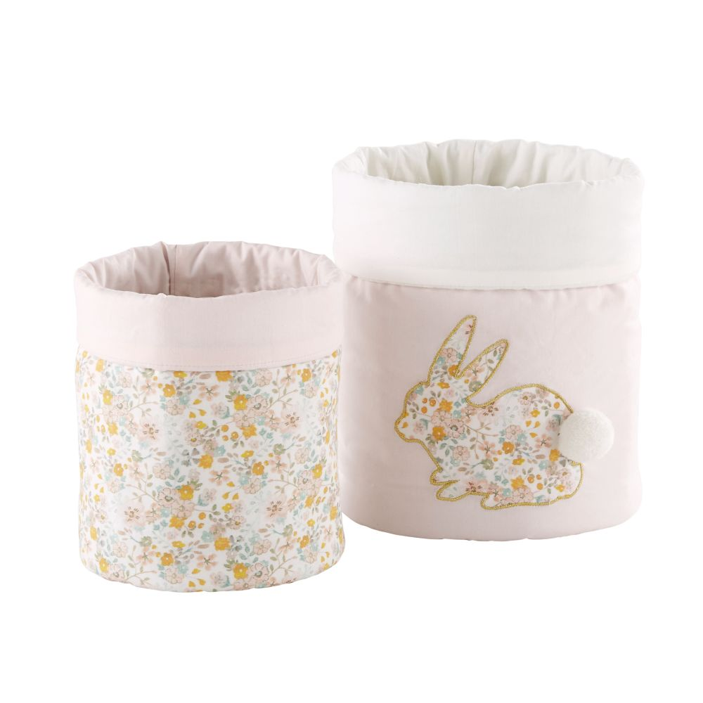 2 paniers de rangement en coton motif liberty (photo)