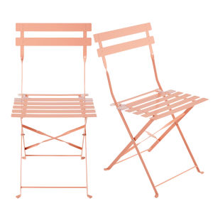 2 Pink Metal Folding Garden Chairs