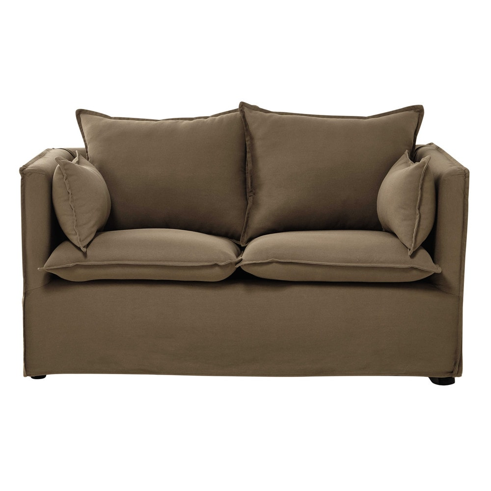 2 seater cotton and linen sofa in taupe