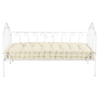 2 seater cotton and metal bench seat in ivory Capucine