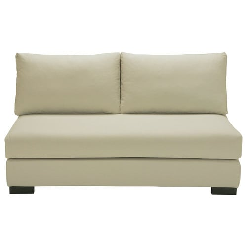 2 seater cotton armless modular sofa in putty