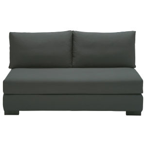 2 seater cotton armless modular sofa in slate grey