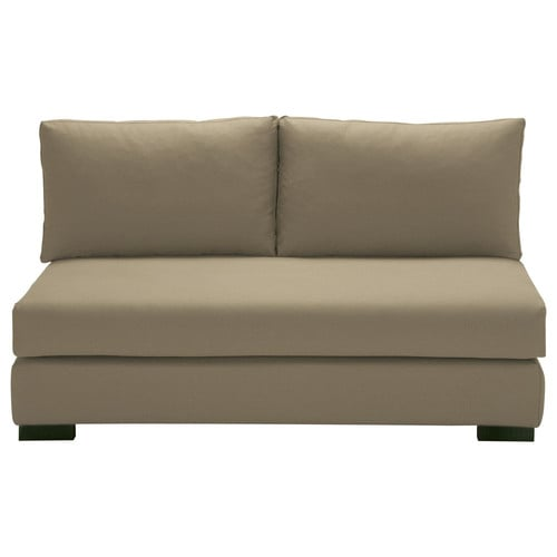 2 seater cotton armless modular sofa in taupe