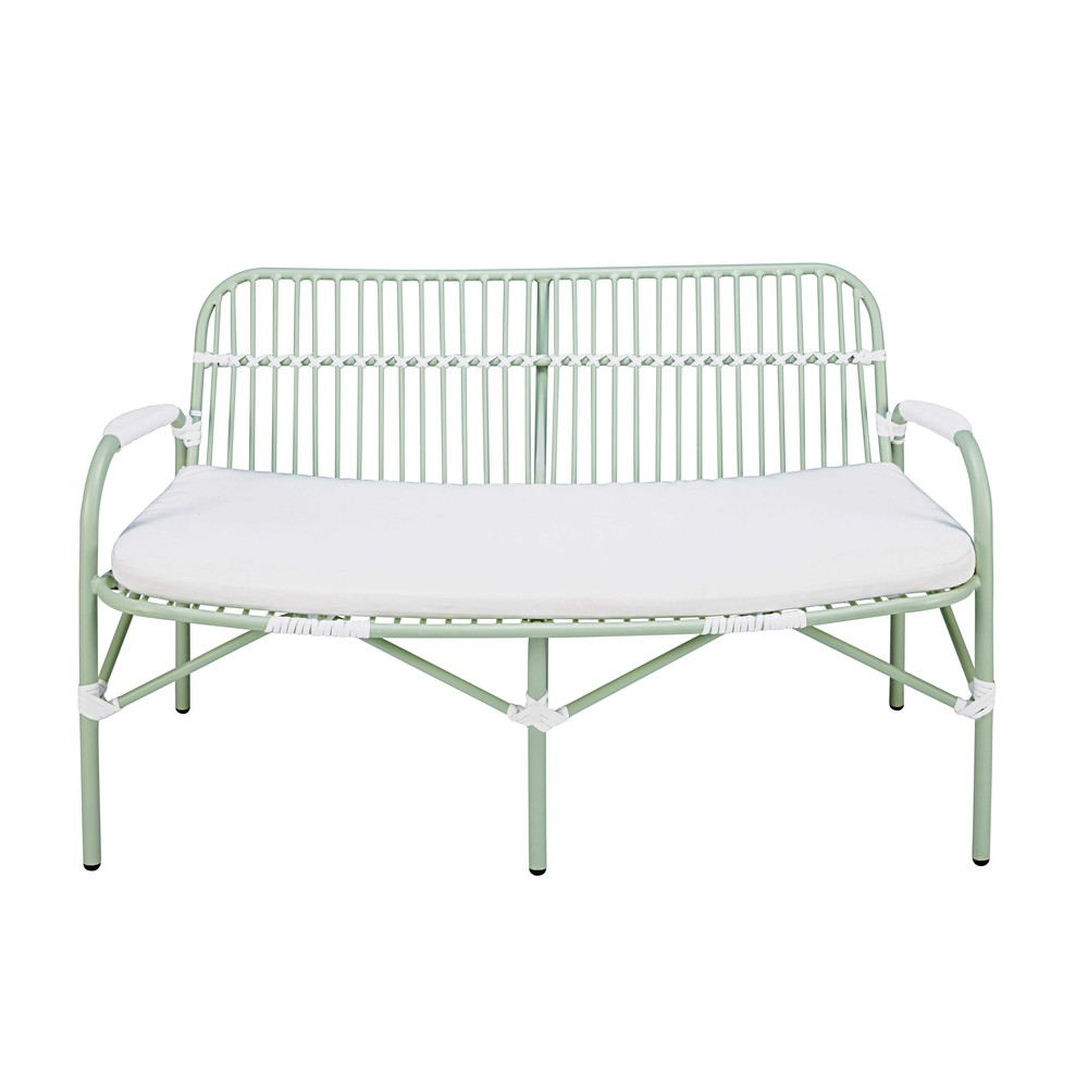 2seater garden bench in light green aluminium with white cushion