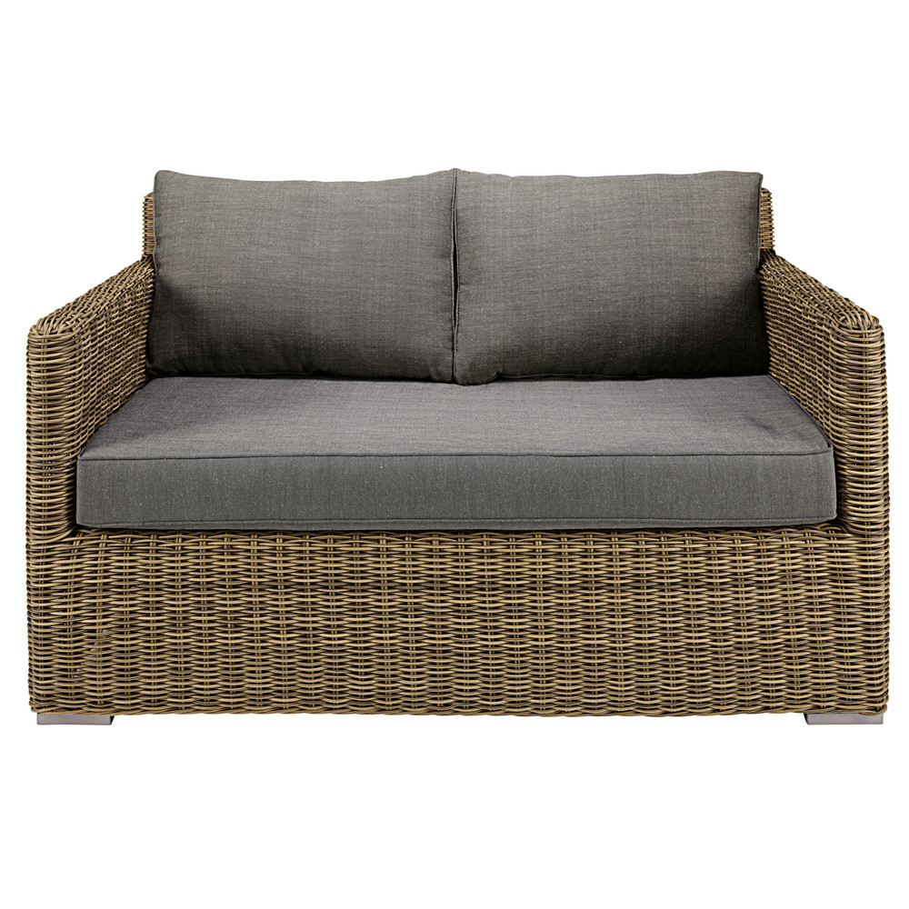 2seater garden sofa in resin wicker with grey cushions St