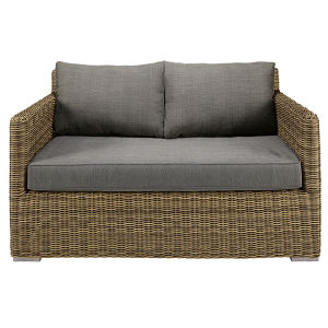 2-seater garden sofa in resin wicker with grey cushions