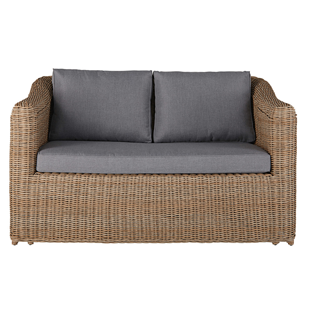 2seater garden sofa in resin wicker with light grey cushions