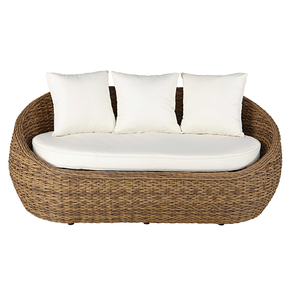 2seater garden sofa in resin wicker with sandcoloured cushions