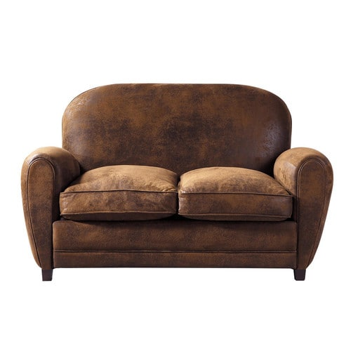 2 seater imitation suede sofa in brown arizona maisons. Black Bedroom Furniture Sets. Home Design Ideas