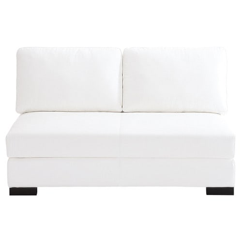 2 seater leather armless modular sofa in white