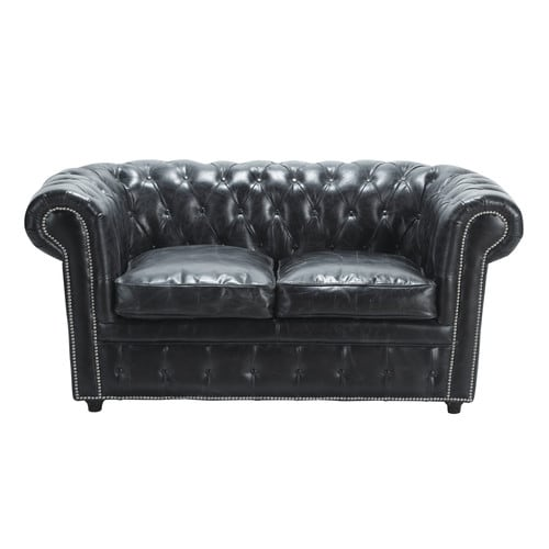 2-Seater Leather Button Sofa in Black