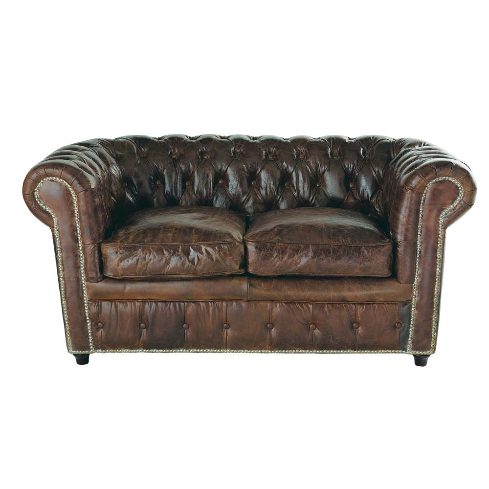 2-Seater Leather Button Sofa in Brown | Maisons du Monde