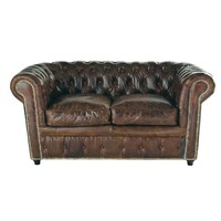 2-Seater Leather Button Sofa in Brown Chesterfield