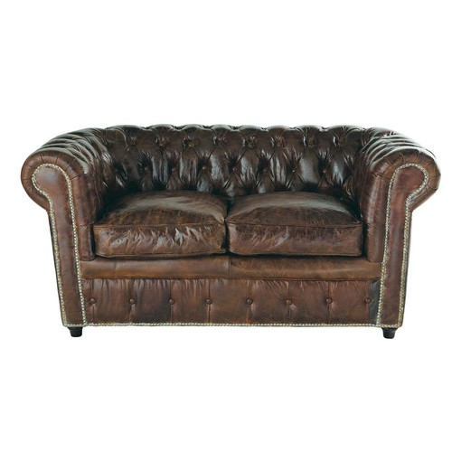 2-Seater Leather Button Sofa in Brown