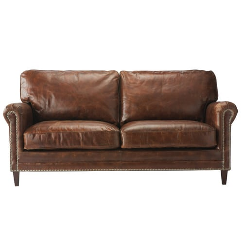 2 Seater Leather Sofa Brown: 2 Seater Leather Sofa In Brown Sinatra