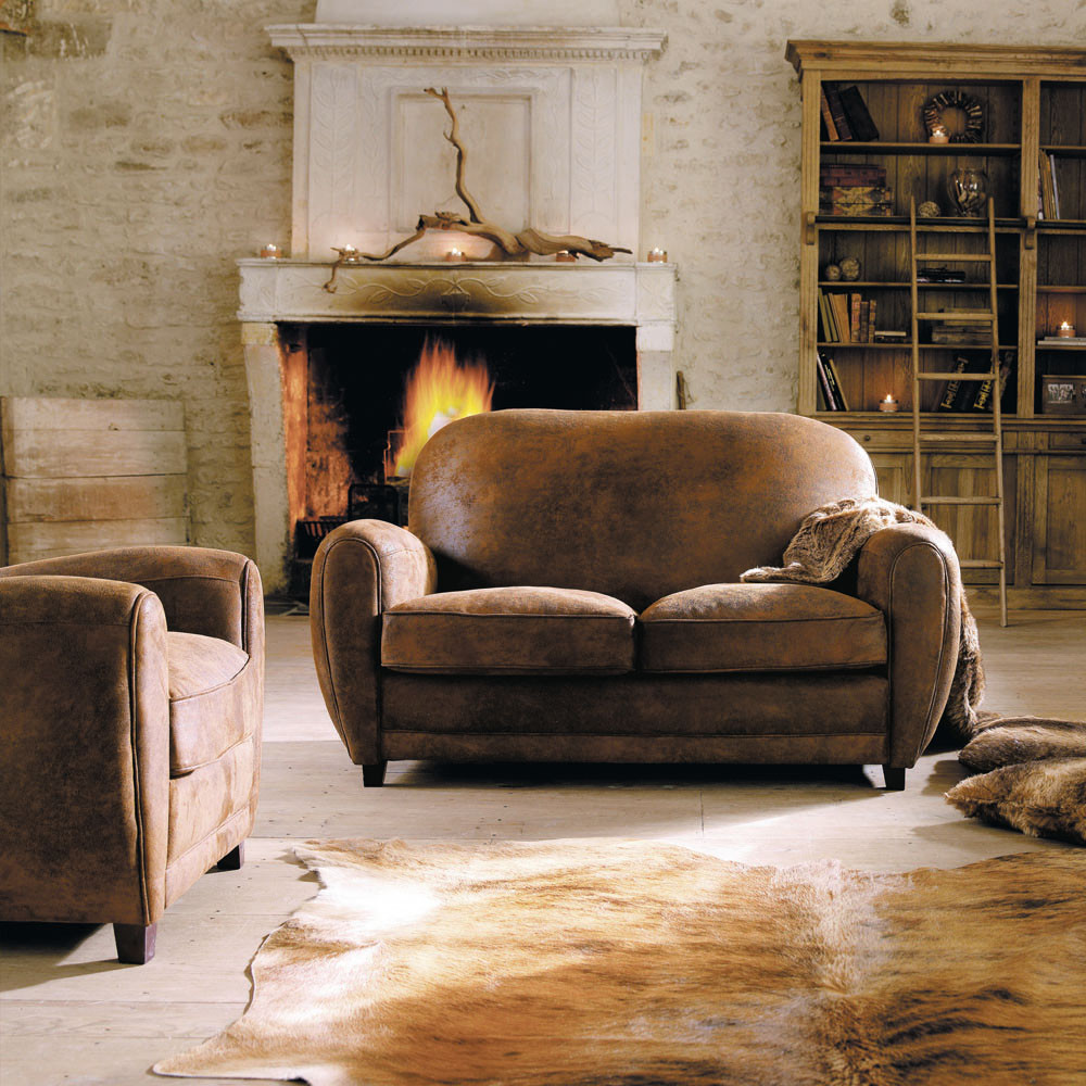 2-Seater Microsuede Club Sofa in Brown | Maisons du Monde