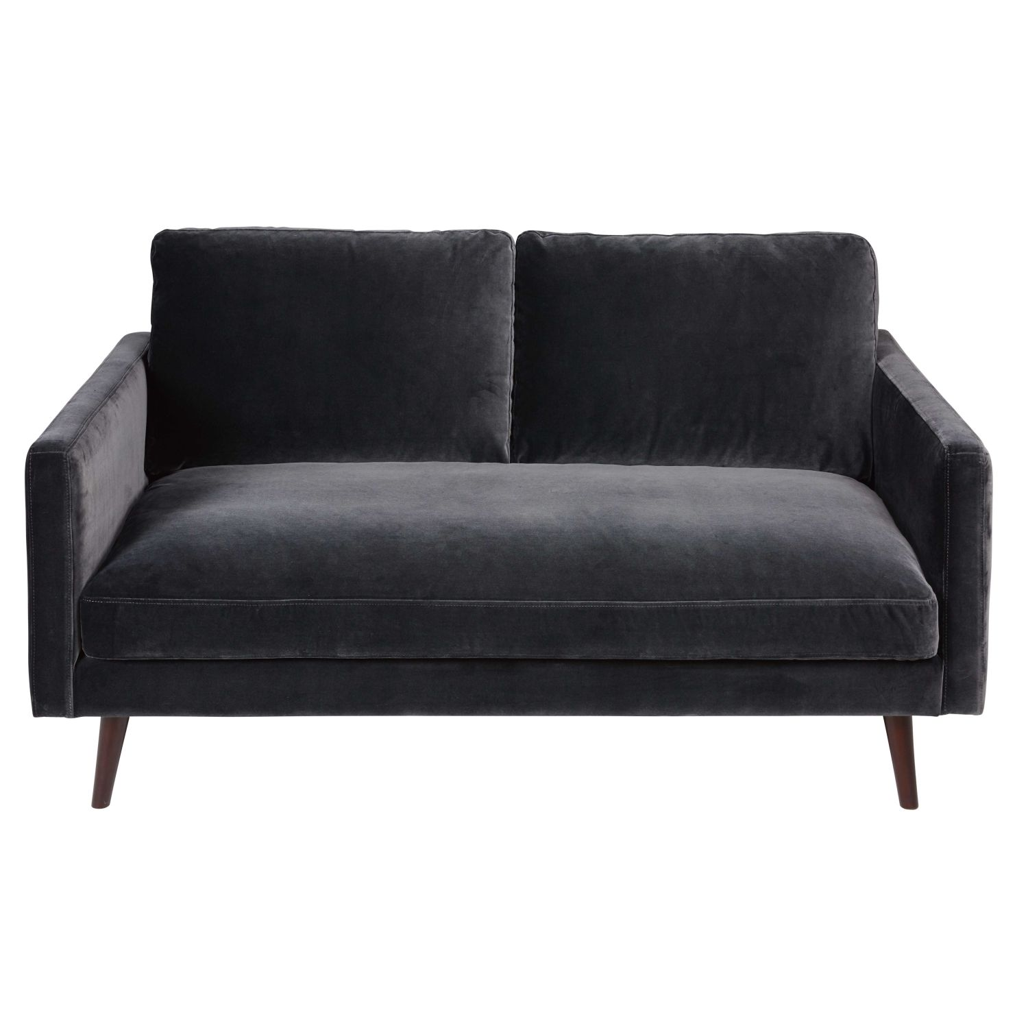 2 sitzer sofa aus samt grau maisons du monde. Black Bedroom Furniture Sets. Home Design Ideas