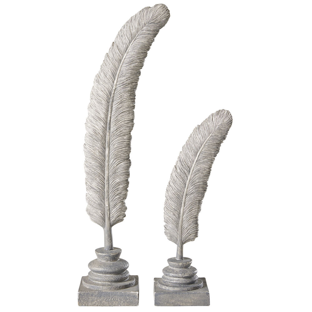 2 statues plumes grises blanchies H40 (photo)