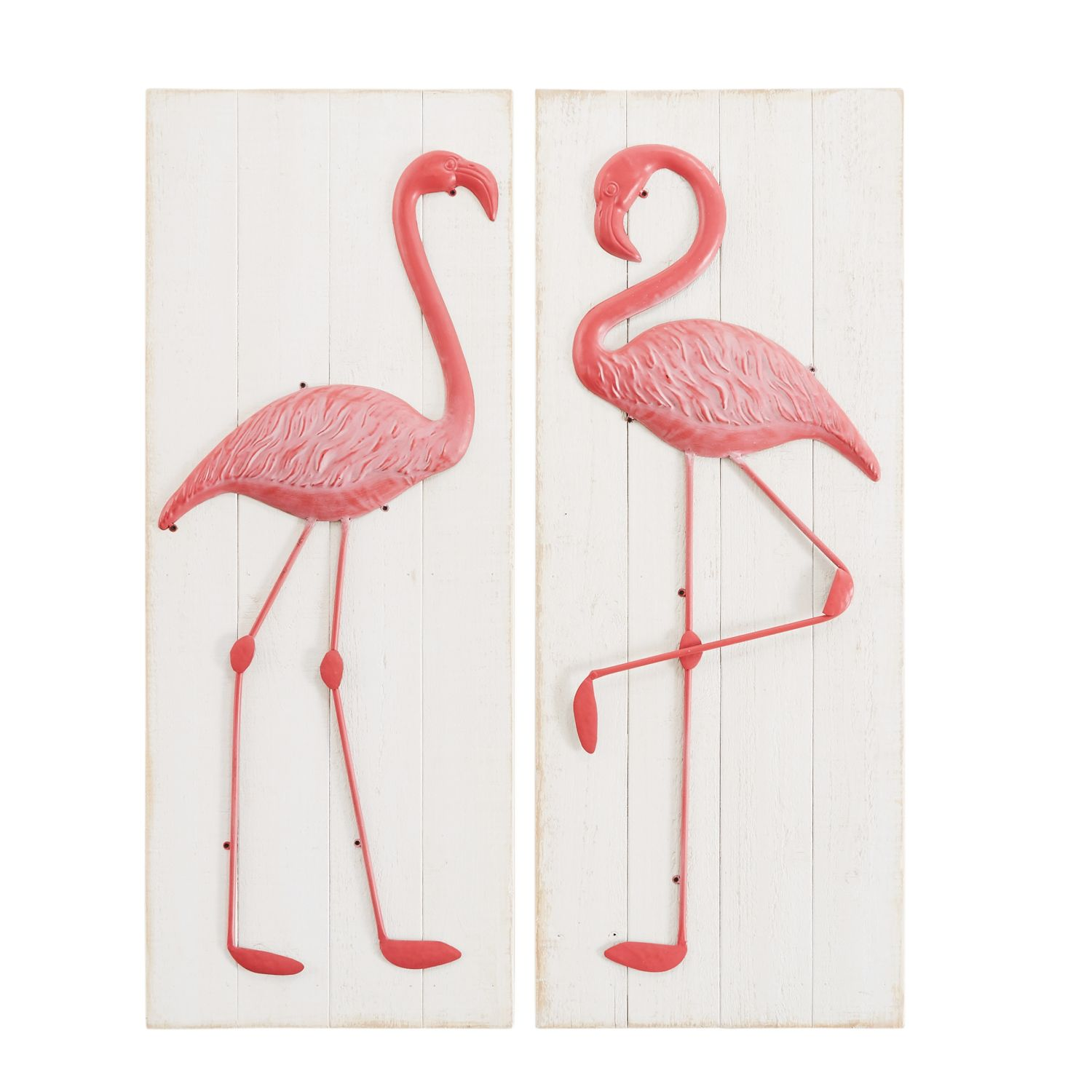 2 tableaux flamant rose en sapin blanc h92 maisons du monde. Black Bedroom Furniture Sets. Home Design Ideas
